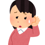 難聴を発症して困った顔をしている女性のイラスト