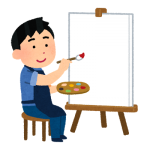 絵を描こうとしている男性イラスト